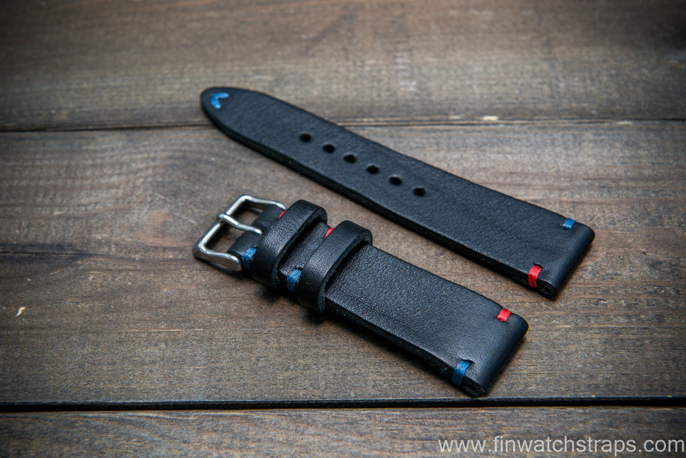 Italian bull leather watch strap, 4 mm thick, Black Oily, Pepsi stitch, handmade in Finland