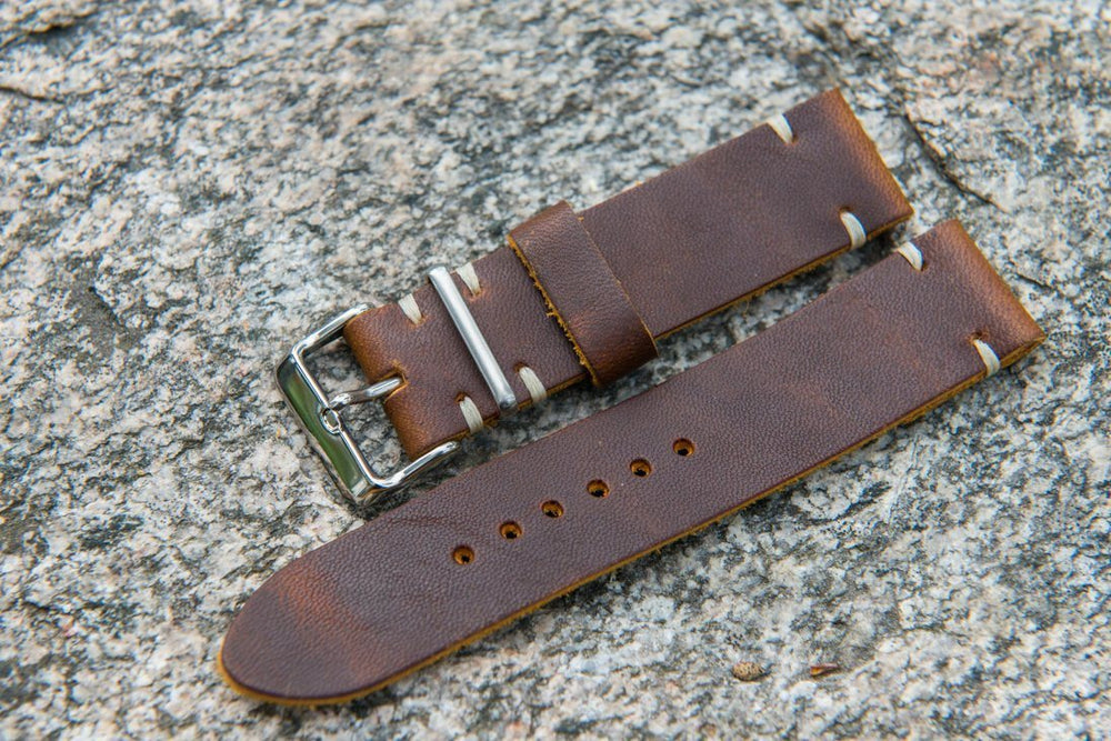 Vandyke Brown-Mustard leather watch band. Handmade in Finland - 16mm, 17 mm, 18mm, 19 mm, 20mm, 21mm, 22mm, 23mm, 24mm, 25mm, 26 mm.