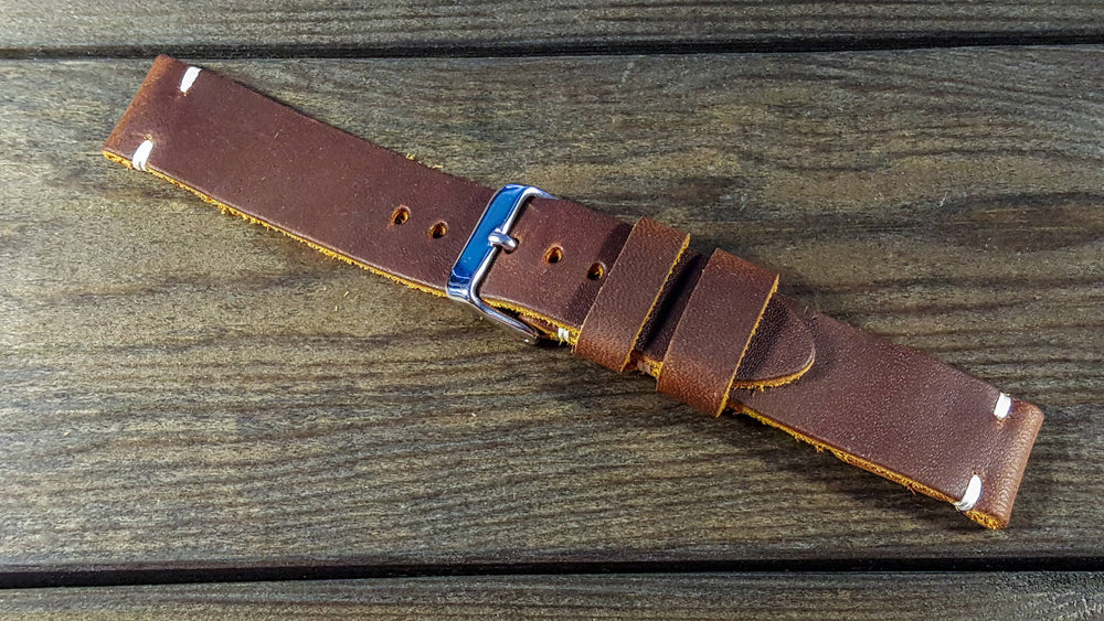 Horween Honey-Mustard leather watch strap, handmade in Finland - finwatchstraps