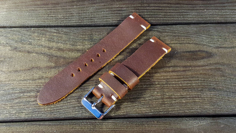 Honey-Mustard leather watch strap, handmade in Finland - 16mm, 17 mm, 18mm, 19 mm, 20mm, 21 mm, 22mm, 23 mm, 24mm, 25 mm, 26mm. - finwatchstraps
