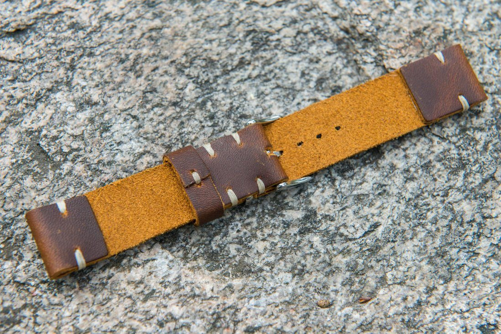 Vandyke Brown-Mustard leather watch band. Handmade in Finland - 16mm, 17 mm, 18mm, 19 mm, 20mm, 21mm, 22mm, 23mm, 24mm, 25mm, 26 mm. - finwatchstraps