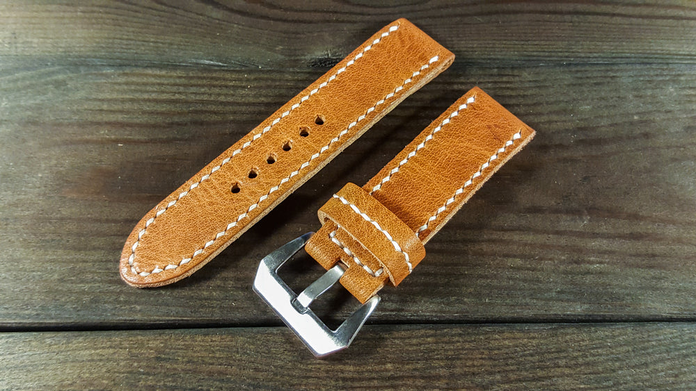 English Tan leather watch strap, Premium watch band,  handmade in Finland - 18mm, 19 mm, 20mm, 21 mm, 22mm, 23 mm, 24mm, 25 mm, 26 mm. - finwatchstraps