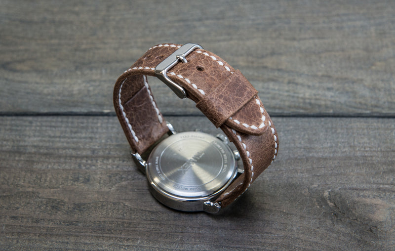 Nordic deer leather watch band, hand-stitched. Handmade in Finland -18 mm, 19 mm, 20 mm, 21 mm,22mm, 23 mm,24 mm, 25 mm, 26mm