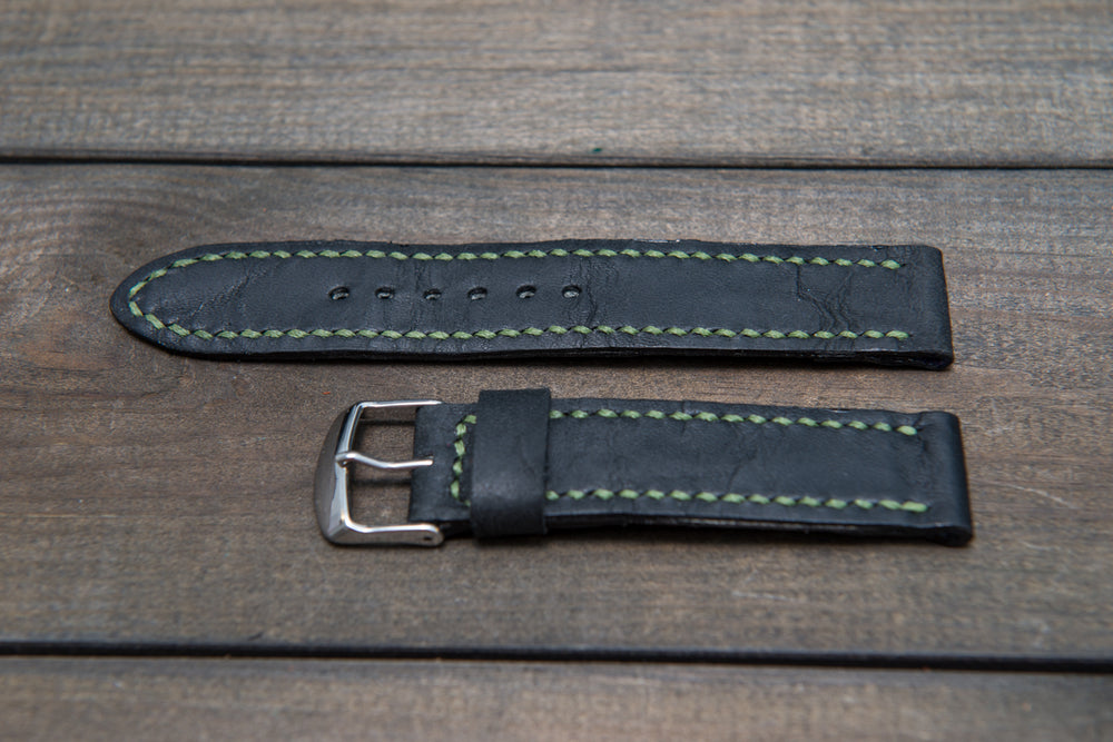 Black leather watch strap, hand stitched,  handmade in Finland - 18mm, 19 mm, 20mm, 21 mm, 22mm, 23 mm, 24mm, 25 mm, 26 mm. - finwatchstraps