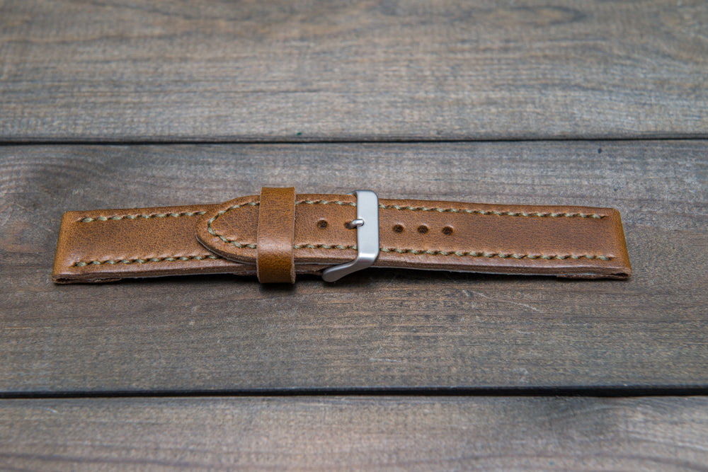 Horween Olive Chromexcel leather watch strap, hand stitched,  handmade in Finland -22 mm - finwatchstraps