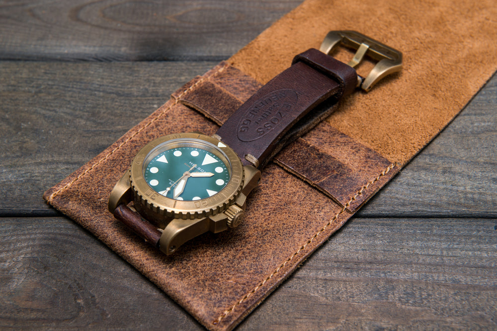 Suede leather watch roll / watch case for wrist watch organizing - 1 pocket - finwatchstraps