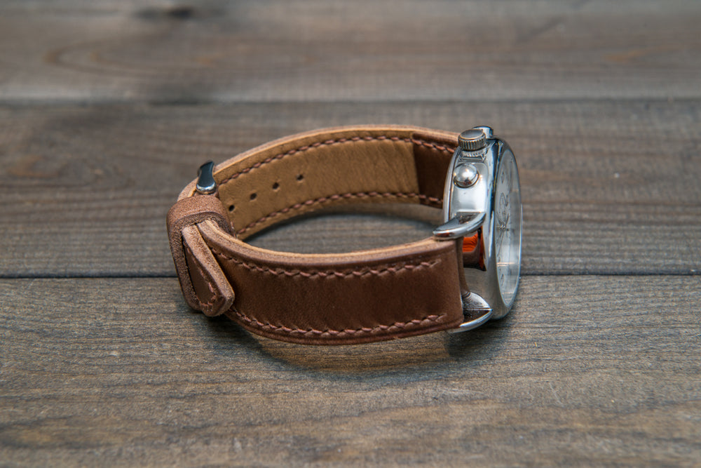 Tan Chromexcel Horween hand stitched leather watch band,  handmade in Finland - finwatchstraps