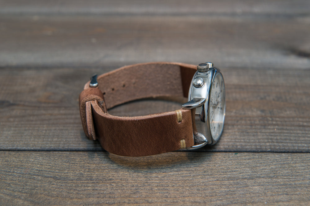 Tan Chromexcel horsehide leather watch strap, handmade in Finland - 10 mm, 12 mm, 14 mm, 16mm, 17 mm, 18mm, 19 mm, 20mm, 21 mm, 22mm, 23 mm, 24mm, 25 mm, 26mm