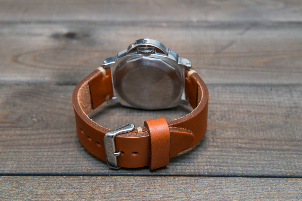 Leather watch strap 3-4 mm thick, Cognac color, handmade in Finland -  16mm, 17 mm, 18mm, 19 mm, 20mm, 21mm, 22mm, 23 mm, 24mm, 25 mm, 26 mm. - finwatchstraps