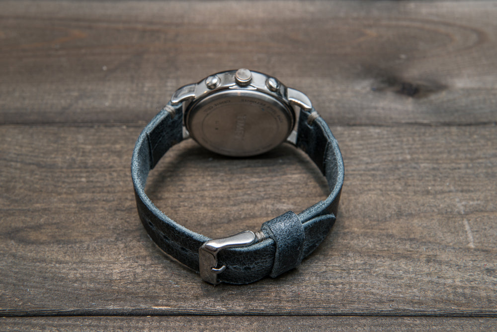 Suede vintage leather watch strap (Crazy cow, Basalt), 1 leather keeper, handmade in Finland - finwatchstraps