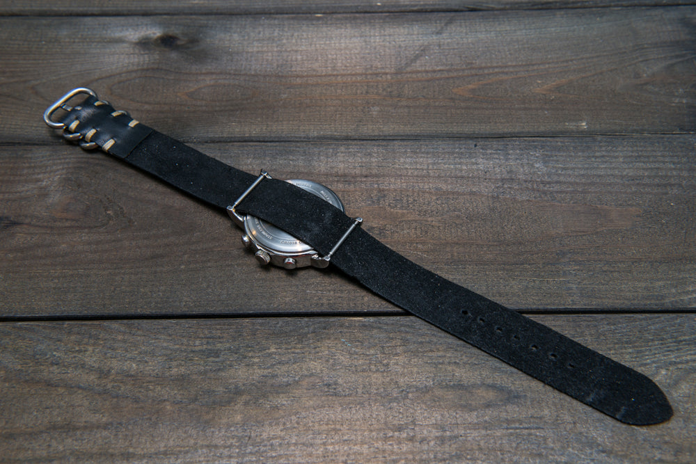 One-piece watch band, Horween Black Mustang Horse fronts