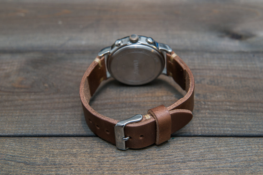 Tan horse chromexcel leather watch band, handmade in Finland. Tapered size: 26/22mm, 25/22 mm, 24/20mm, 23/20 mm, 22/18 mm, 21/18 mm, 20/16 mm, 19/16 mm