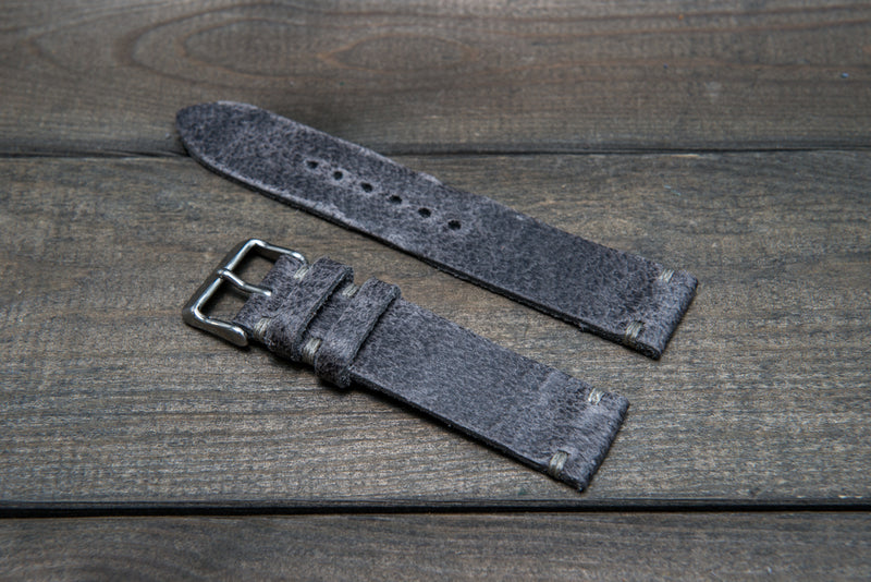 Suede vintage leather watch strap (Crazy cow), handmade in Finland - 10mm, 12 mm, 14 mm, 16mm, 17 mm, 18mm, 19 mm, 20mm, 21mm, 22mm, 23 mm,  24mm, 25 mm, 26 mm.