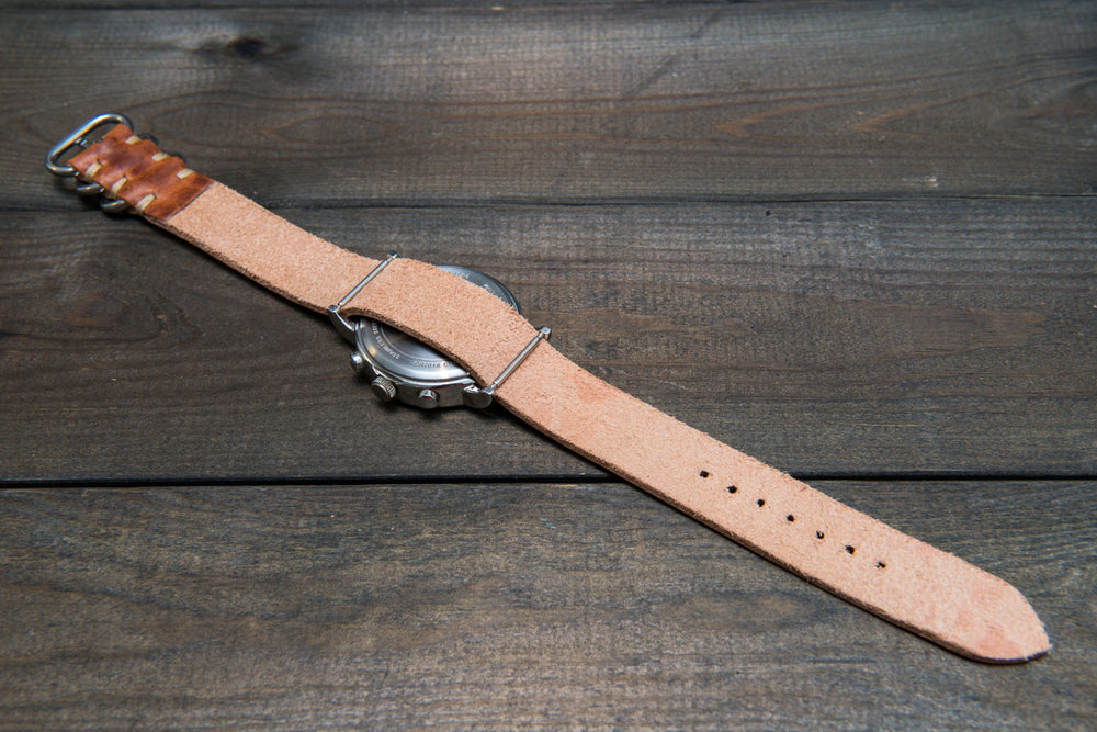 One-piece military watch band, Horween Dublin Cognac leather watch strap