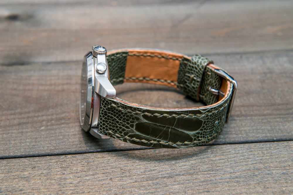 Ostrich legs leather watch strap - finwatchstraps
