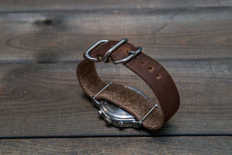 One-piece military watch band, Horween Derby Nut Brown leather watch strap