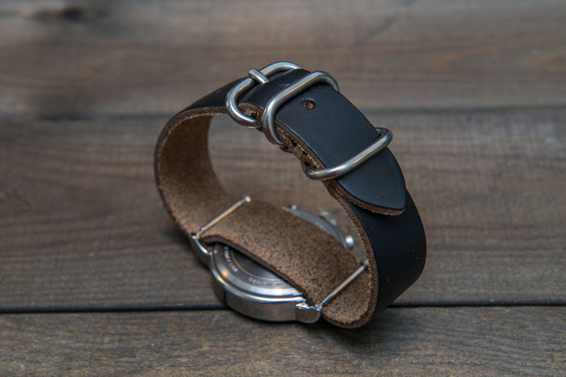 One-piece watch band, Horween Black Chromexcel leather