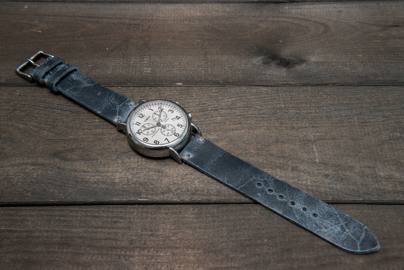 Suede vintage leather watch strap (Crazy cow, Basalt),2 leather keepers, handmade in Finland
