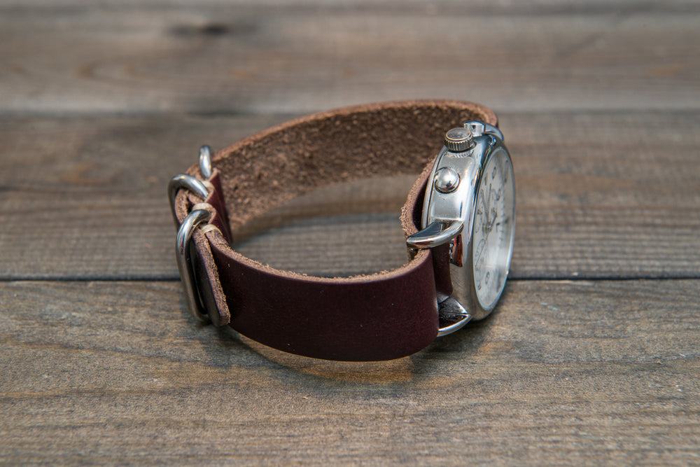 One-piece watch band, Horween Burgundy/ Chromexcel no 8. leather watch strap - finwatchstraps