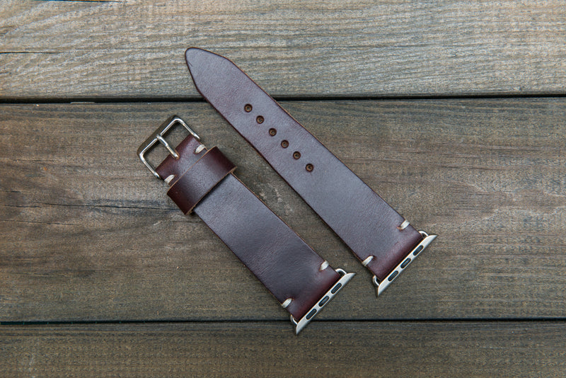 Apple Watch band Burgundy, Chromexcel no 8: 38mm, 42mm, fits Gold, Rose gold, Black and Silver iWatch. Tapered watch band for iWatch. - finwatchstraps