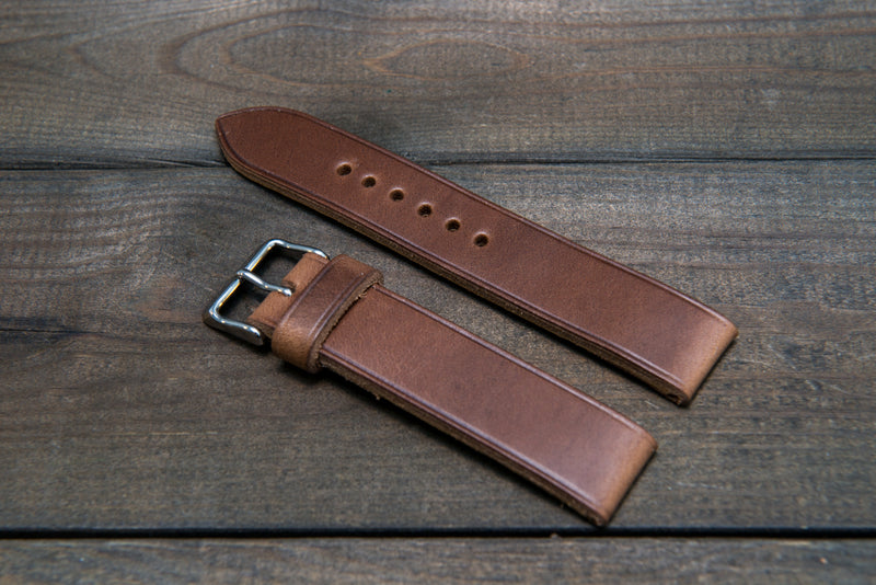 Horween Tan Chromexcel (horsebutt) leather watch strap, handmade in Finland -10 mm, 12 mm, 14 mm, 16mm, 17 mm, 18mm, 19 mm, 20mm, 21 mm, 22mm, 23 mm, 24mm, 25 mm, 26mm.