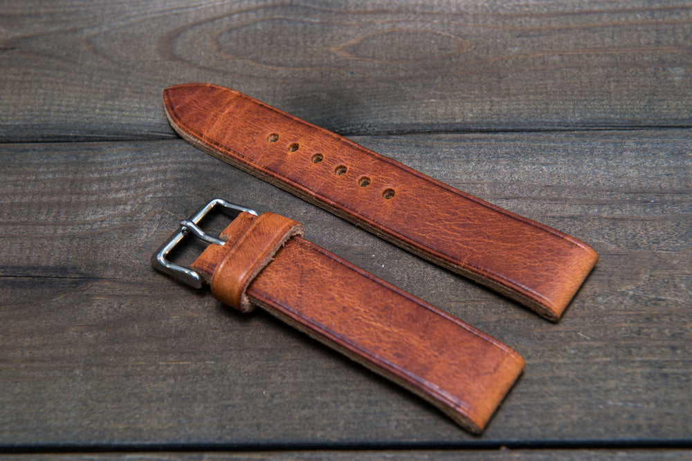 Dublin Cognac Horween leather watch strap, handmade in Finland -10 mm, 12 mm, 14 mm, 16mm, 17 mm, 18mm, 19 mm, 20mm, 21 mm, 22mm, 23 mm, 24mm, 25 mm, 26mm. - finwatchstraps