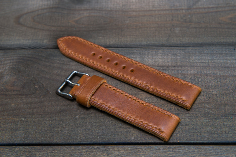 Whiskey Cavalier hand stitched leather watch band,  handmade in Finland - finwatchstraps