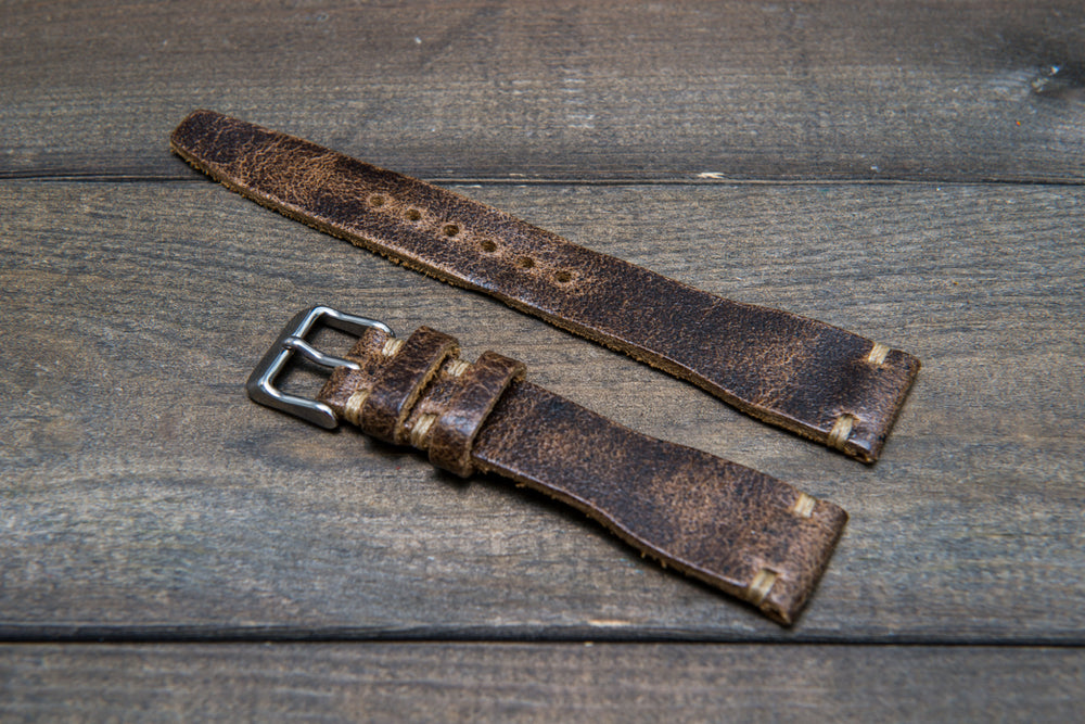 Pilot Leather Watch Strap, tapered model (Crazy Cow, Teak) - finwatchstraps
