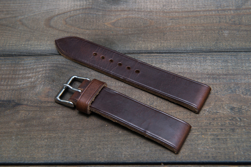 Dark Brown Horween Chxl leather watch strap, handmade in Finland -10 mm, 12 mm, 14 mm, 16mm, 17 mm, 18mm, 19 mm, 20mm, 21 mm, 22mm, 23 mm, 24mm, 25 mm, 26mm.