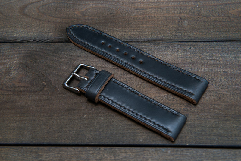 Horween Black Chromexcel leather, hand stitched watch band,  handmade in Finland - 18mm, 19 mm, 20mm, 21 mm, 22mm, 23 mm, 24mm, 25 mm, 26 mm.