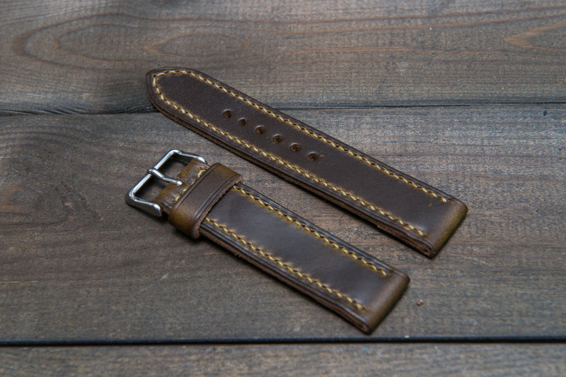 Olive Chromexcel hand stitched leather watch band,  handmade in Finland