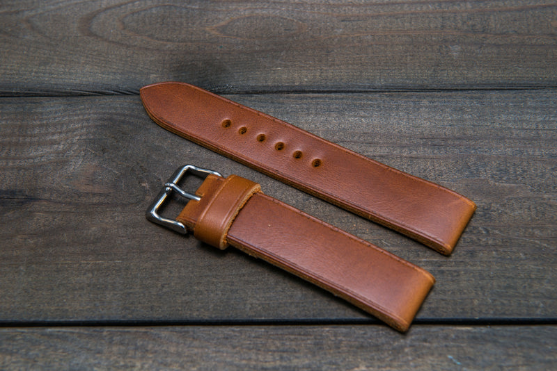 Horween Whiskey Cavalier (Chromexcel) leather watch strap, handmade in Finland - 10 mm, 12 mm, 14 mm, 16mm, 17 mm, 18mm, 19 mm, 20mm, 21 mm, 22mm, 23 mm, 24mm, 25 mm, 26m - finwatchstraps