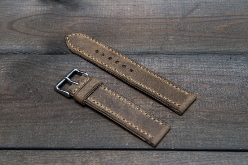 Military Olive hand stitched leather watch band,  handmade in Finland
