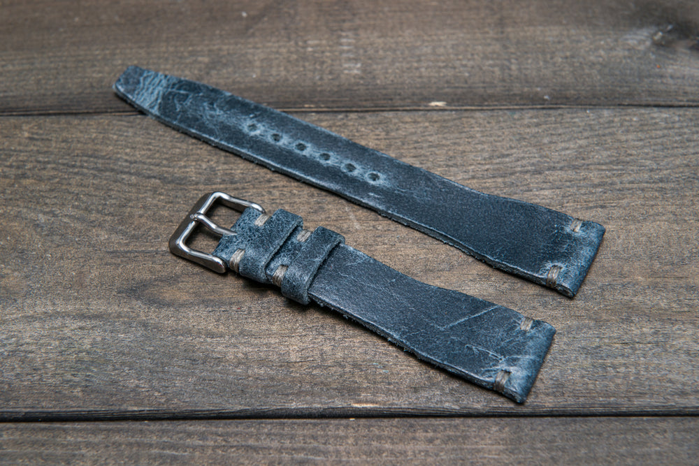 Pilot Leather Watch Strap, tapered model (Crazy Cow, Basalt) - finwatchstraps