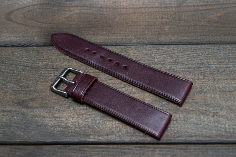 Buttero leather watch strap (Burgundy), handmade in Finland - 10 mm, 12 mm, 14 mm, 16mm, 17 mm, 18mm, 19 mm, 20mm, 21mm, 22mm, 23 mm,  24mm, 25 mm, 26 mm. - finwatchstraps
