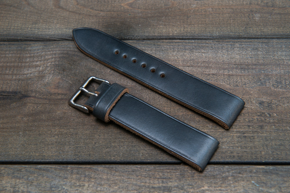 Black Horween Chxl leather watch strap, handmade in Finland -10 mm, 12 mm, 14 mm, 16mm, 17 mm, 18mm, 19 mm, 20mm, 21 mm, 22mm, 23 mm, 24mm, 25 mm, 26mm. - finwatchstraps