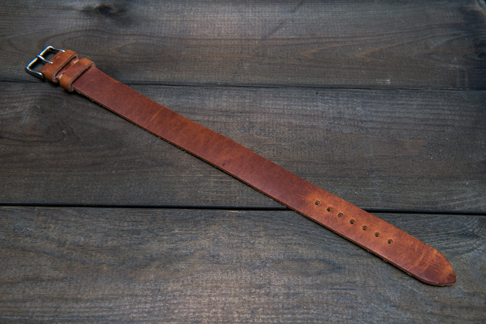 One-piece military watch band, Horween Dublin Cognac leather watch strap - finwatchstraps