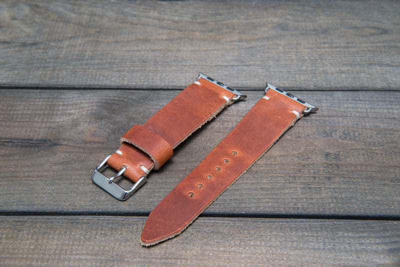 Apple Watch band, Horween Dublin Cognac: 38mm, 42mm. Gold, Rose gold, Black and Silver iWatch adapters. Tapered watch band for iWatch. - finwatchstraps