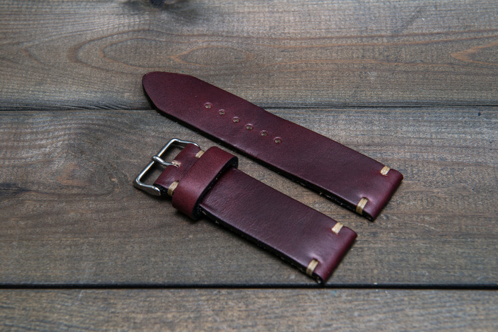 Leather watch strap 3-4 mm thick, Horween Burgundy Chromexcel, handmade in Finland -  16mm, 17 mm, 18mm, 19 mm, 20mm, 21mm, 22mm, 23 mm, 24mm, 25 mm, 26 mm.
