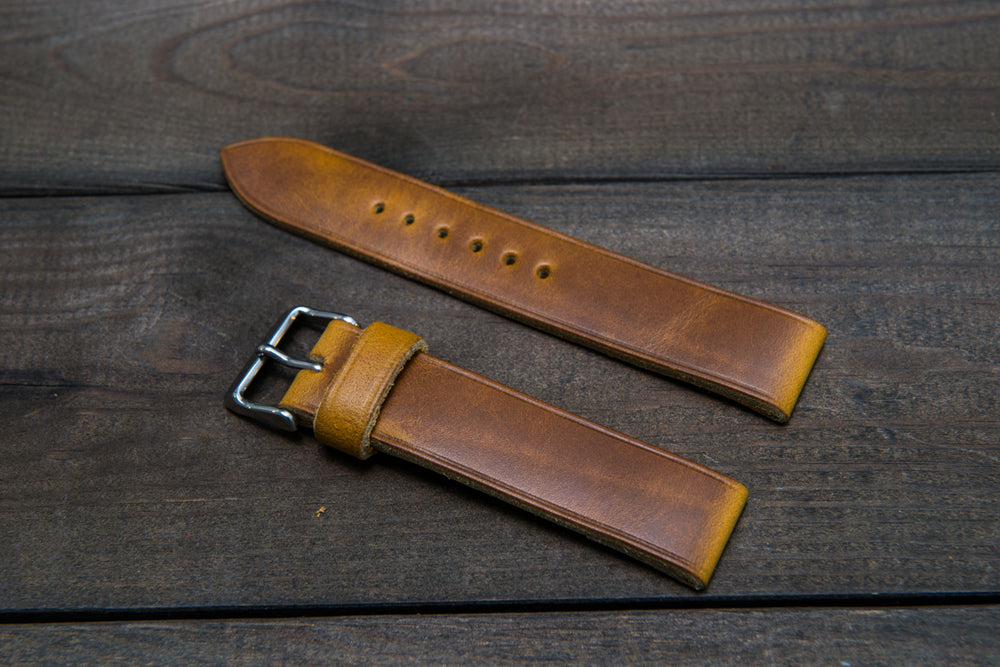 Horween SunGold Cavalier (Chromexcel) leather watch strap, handmade in Finland - 10 mm, 12 mm, 14 mm, 16mm, 17 mm, 18mm, 19 mm, 20mm, 21 mm, 22mm, 23 mm, 24mm, 25 mm, 26m - finwatchstraps