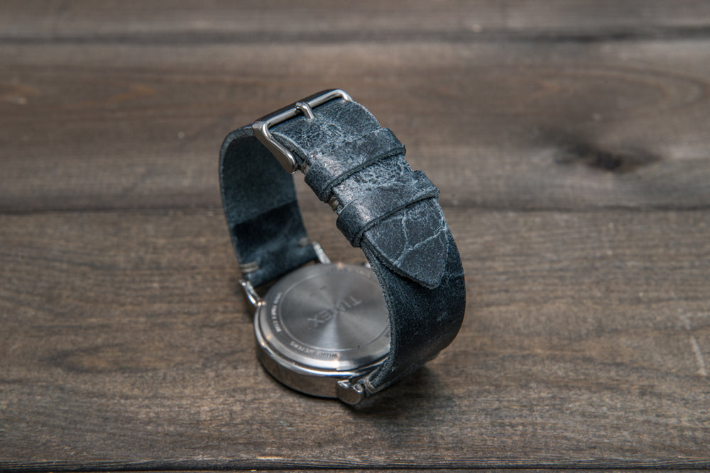 Suede vintage leather watch strap (Crazy cow, Basalt),2 leather keepers, handmade in Finland - finwatchstraps
