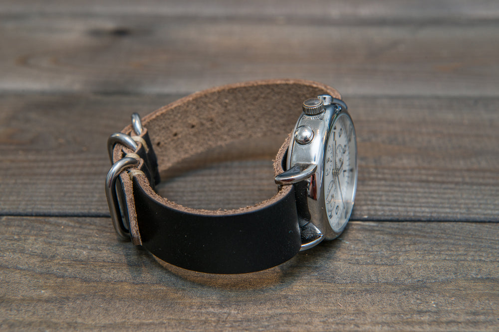 One-piece watch band, Horween Black Chromexcel leather - finwatchstraps