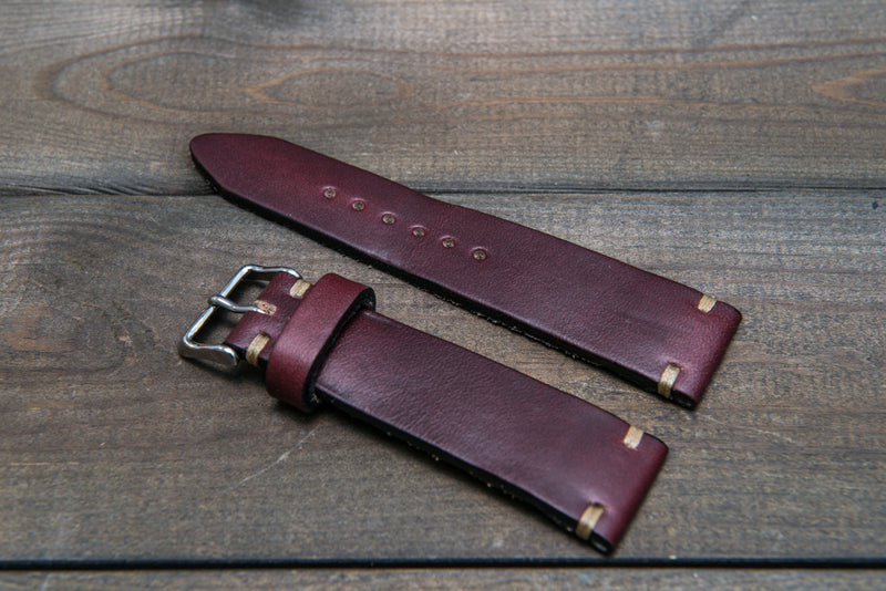 Leather watch strap 3-4 mm thick, Horween Burgundy Chromexcel, handmade in Finland. - finwatchstraps