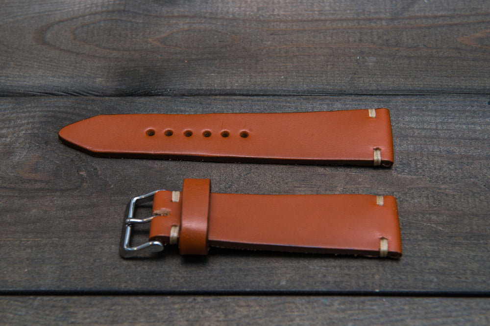 Leather watch strap 3-4 mm thick, Cognac color, handmade in Finland - finwatchstraps