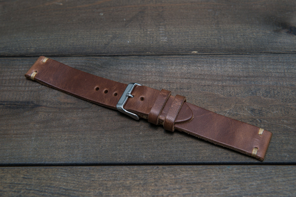 Tan Horween  Chxl, horsebutt, leather watch strap, handmade in Finland - 16mm, 17 mm, 18mm, 19 mm, 20mm, 21 mm, 22mm, 23 mm, 24mm, 25 mm, 26mm.