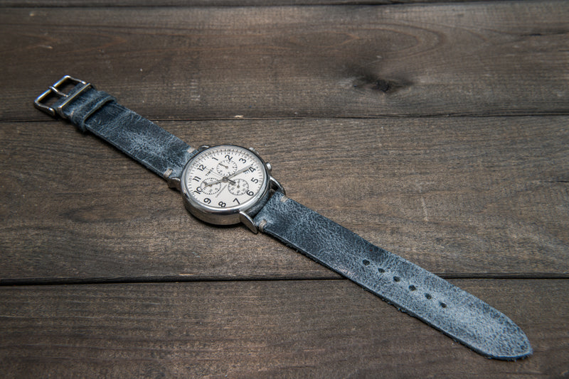 Suede vintage leather watch strap (Crazy cow, Basalt), 2 keepers, handmade in Finland - finwatchstraps