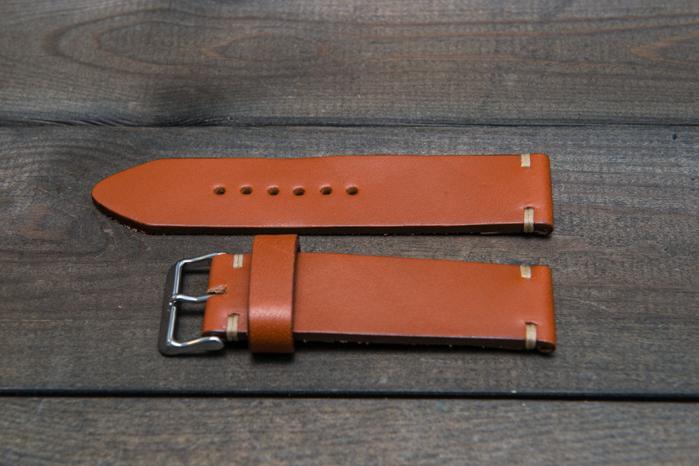Leather watch strap 3-4 mm thick, Cognac color, handmade in Finland -  16mm, 17 mm, 18mm, 19 mm, 20mm, 21mm, 22mm, 23 mm, 24mm, 25 mm, 26 mm.