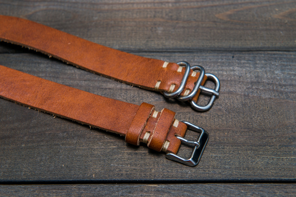One-piece watch band, Horween Derby English Tan leather watch strap - finwatchstraps