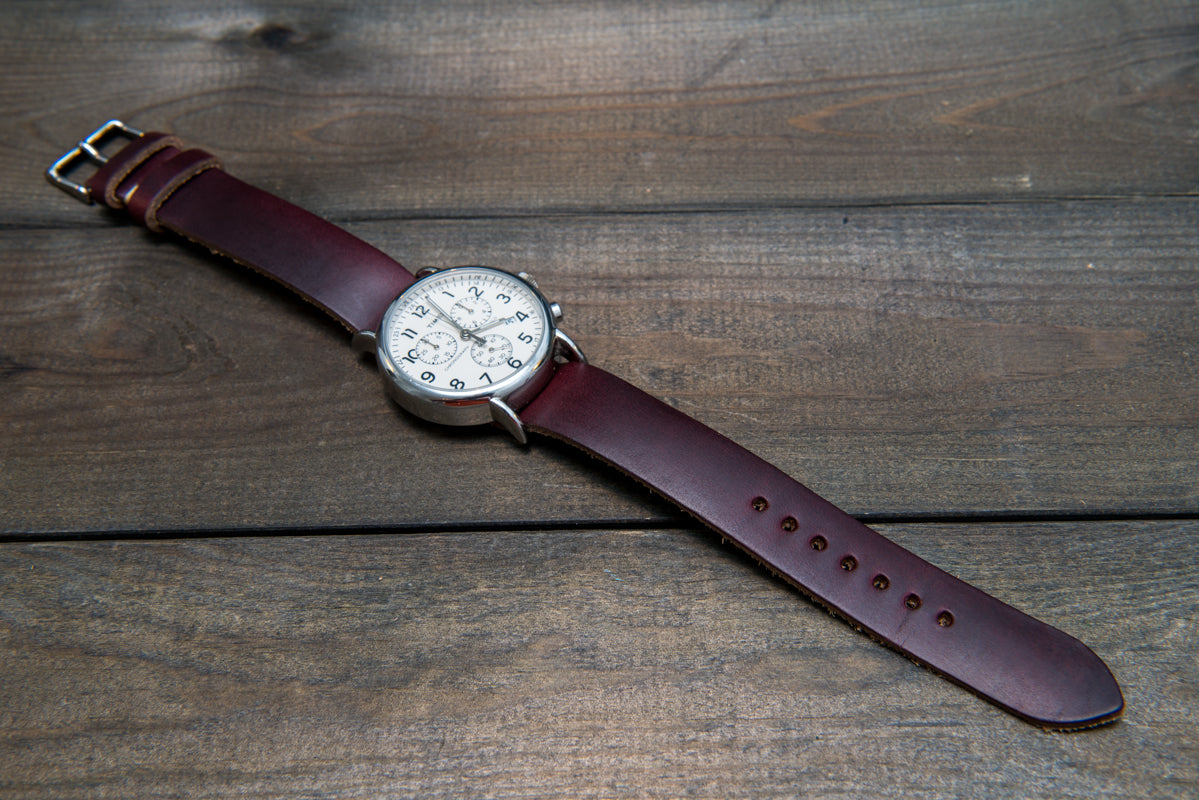 ee086a727 One-piece watch band, Horween Burgundy/ Chromexcel no 8. leather watch strap