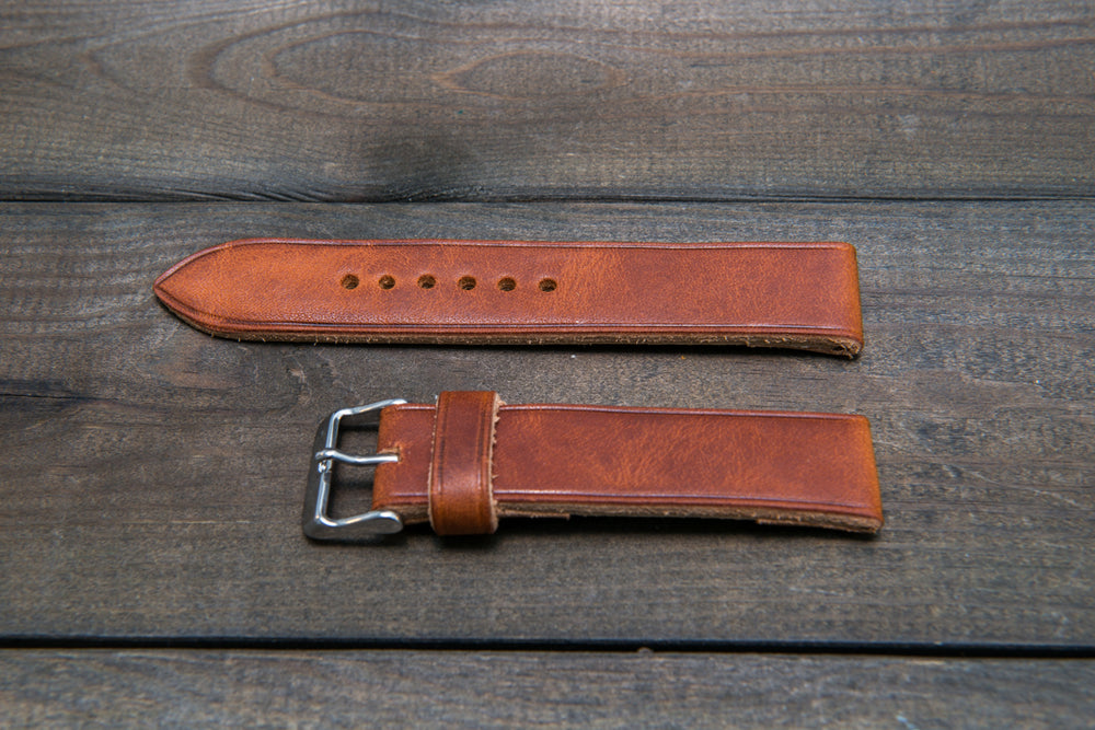 Derby English Tan Horween leather watch strap, handmade in Finland -10 mm, 12 mm, 14 mm, 16mm, 17 mm, 18mm, 19 mm, 20mm, 21 mm, 22mm, 23 mm, 24mm, 25 mm, 26mm. - finwatchstraps